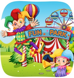 Two jesters at the fun park vector image vector image