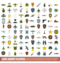 100 army icons set flat style vector image