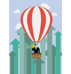 Businessman in hot air balloon against growing up vector image vector image