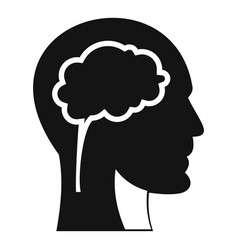 head with brain icon simple style vector image