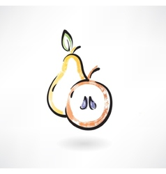 Pear and apple grunge icon vector image vector image