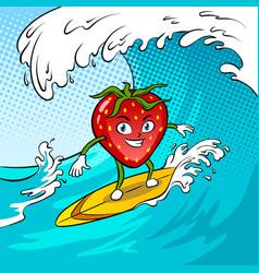 strawberry surf sea pop art vector image