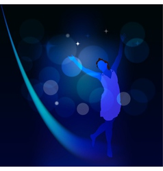 Abstract background with moonlight path and a girl vector image