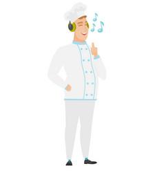 chef cook listening to music in headphones vector image vector image