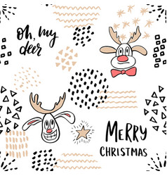 christmas seamless pattern with cute reindeer and vector image vector image