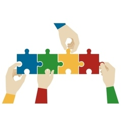 Hands assembling jigsaw puzzle pieces vector image