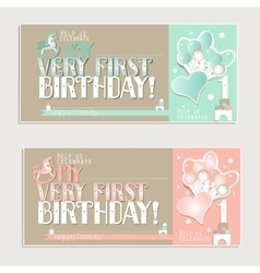 My very first birthday greeting cards for boy and vector image vector image