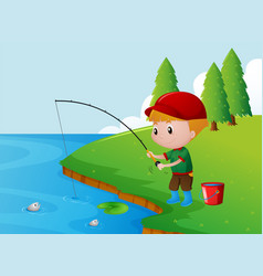 one boy fishing alone on the river bank vector image
