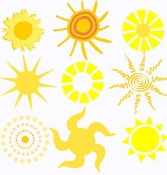 Set of Cartoon Suns vector image