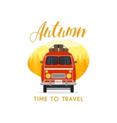Autumn time family travel and trip The family car vector image vector image