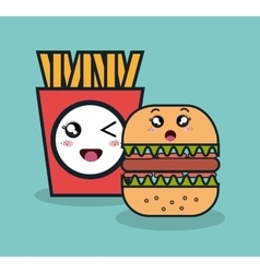 cartoon burger with fries french facial expression vector image vector image