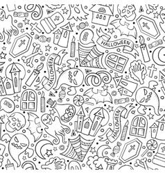 Cartoon cute hand drawn Halloween seamless pattern vector image