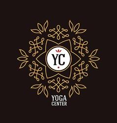 Elegant ornament line logo design Floral vector image