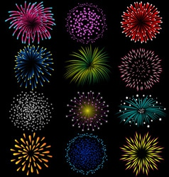 Fireworks set on black background vector image