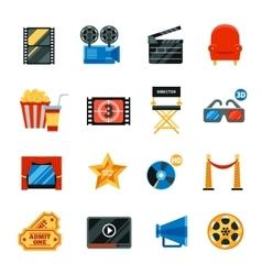 Flat Cinema Decorative Icons Set vector image