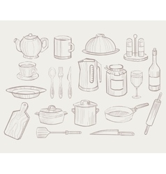 Kitchen Utensils hand drawn style vector image vector image