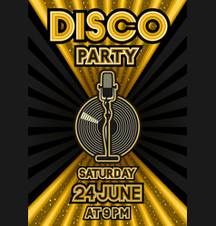 microphone and vinyl record on black and golden vector image