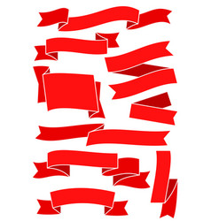 set of red ribbons and banners for web design vector image vector image
