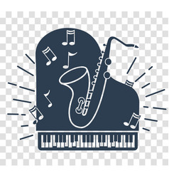 silhouette icon of jazz music vector image vector image