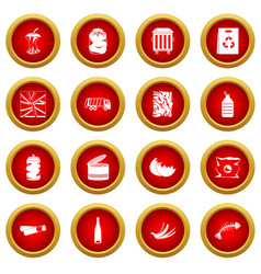 waste and garbage icon red circle set vector image