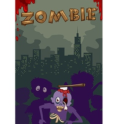 Zombie with axe on head vector