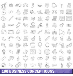 100 business concept icons set outline style vector image