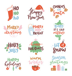 2018 happy new year text logo badge lettering vector image