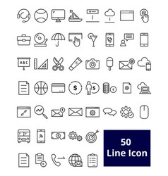 50 user interface line icon vector image