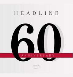 60th anniversary banner template journal cover vector