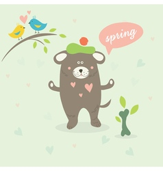 A spring scene with a cartoon dog vector