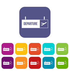 Airport departure sign icons set vector