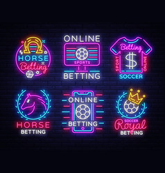 Betting big collection neon signs set betting vector