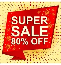 Big winter sale poster with SUPER SALE 80 PERCENT vector image