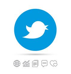 bird sign icon social media symbol vector image