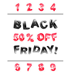 Black friday lettering banner kit of 3d letters vector