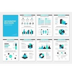 Blue and green business A4 brochures with vector image