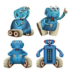 Blue robots doing different things vector