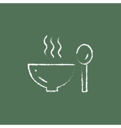 Bowl of hot soup with spoon icon drawn in chalk vector