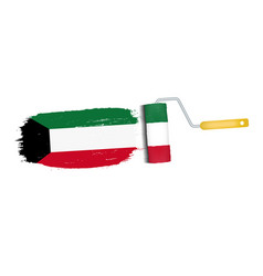 brush stroke with kuwait national flag isolated on vector image