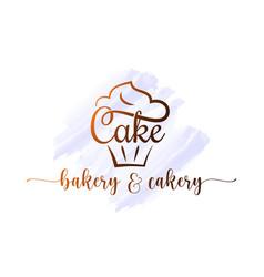 Cake logo bakery cupcake dessert watercolor vector