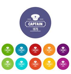 Captain icons set color vector
