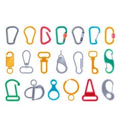 Carabiner clasp set isolated on white background vector