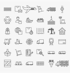 Cargo line icons set vector