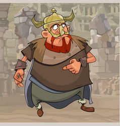 cartoon man in ancient clothes and a horned helmet vector image