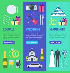 cartoon wedding banner vecrtical set vector image