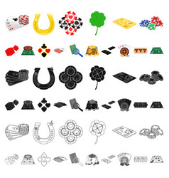 casino and equipment cartoon icons in set vector image