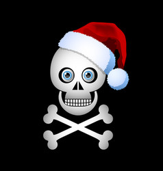 christmas skull icon with santa hat isolated vector image