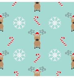 Christmas snowflake candy cane deer wearing red vector