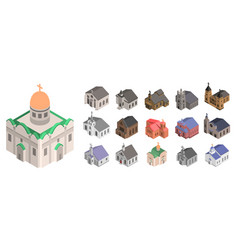 Church icon set isometric style vector
