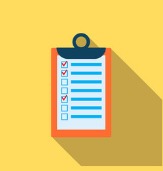 clipboard with checklist icon in flat style vector image
